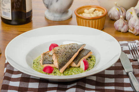 Roasted trout with risotto Photo