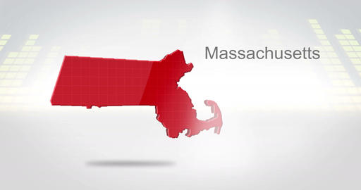 Motion Graphics 3D animation of the american state of Massachusetts Animation