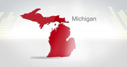 Motion Graphics 3D animation of the american state of Michigan Animation