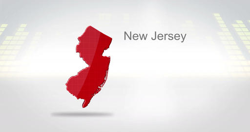 Motion Graphics 3D animation of the american state of New Jersey Animation