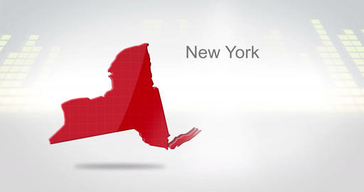 Motion Graphics 3D animation of the american state of New York Animation