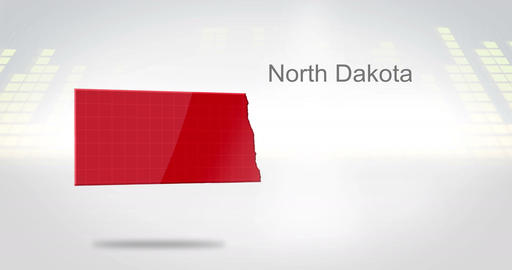 Motion Graphics 3D animation of the american state of North Dakota Animation