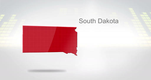 Motion Graphics 3D animation of the american state of South Dakota Animation