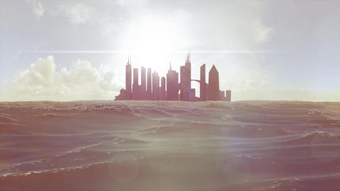 Cityscape skyline ocean rising sea level silhouette skyscraper future island 4k Footage