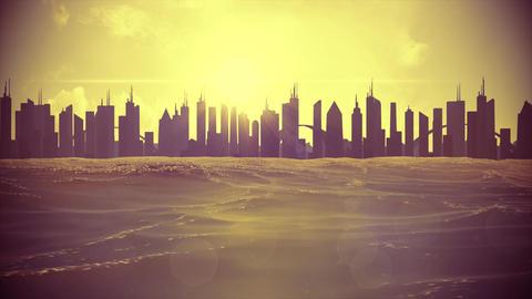 Cityscape skyline ocean rising sea level silhouette skyscraper future climate 4k Footage