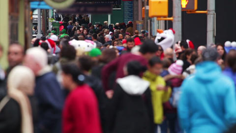 Anonymous Crowd in Times Square. Slow Motion Footage