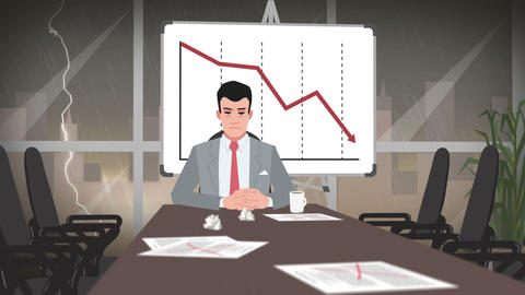 Cartoon Corporate / Businessman in deep crisis Animation