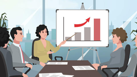 Cartoon Corporate / Girl shows increasing graph chart Animation