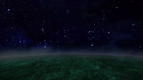 Night Sky And Grassland Time Lapse stock footage