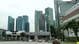 Singapore 052 skyline of downtown financial district Footage