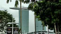 Singapore 055 Marina Bay Sands Luxury Hotel Seen From Opposite Shore stock footage