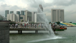 Singapore 058 water and boats at Merlion Park; Marina Bay Footage