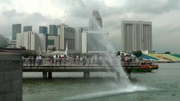 Singapore 058 water and boats at Merlion Park; Marina Bay Footage
