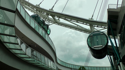 Singapore 007 cabins and construction of Singapore Flyer wheel Footage