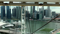 Singapore 016 inside rising cabin of ferris wheel; skyline Footage
