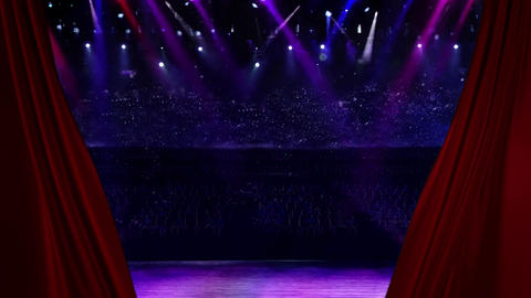 Red Curtain Opening at concert spotlight Animation