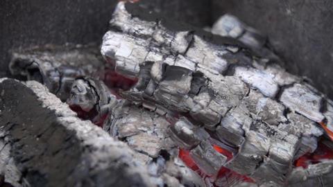 Close-up bonfire burning slow motion Footage