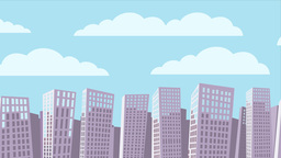 Cartoon Cityscape Background Animation stock footage