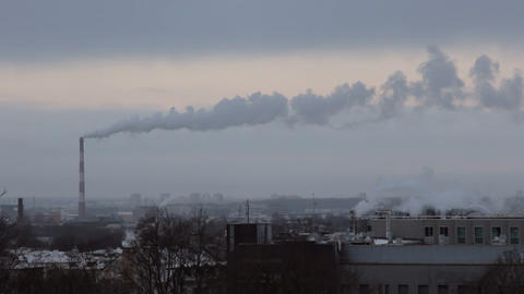 Smoke from chimneys frosty morning Footage
