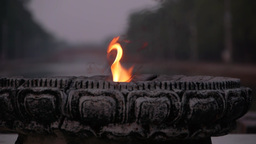 Ethernal Peace Flame In Lumbini Development Zone,Lumbini,Nepal stock footage