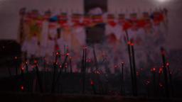 Inscence sticks in Sacred Garden,Lumbini,Nepal Footage
