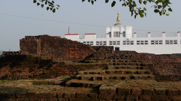 Temple and ruins in Sacred Garden,Lumbini,Nepal Footage