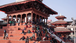 People resting on Temple stairs durbar square,Kathmandu,Nepal Footage