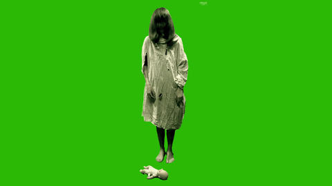 Green Screen Killing Doll Girl stock footage