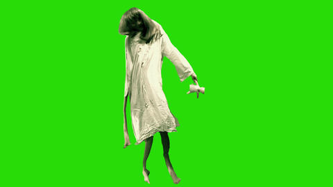 Green screen deformed girl Footage