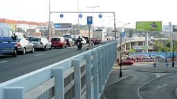 city - urban street with cars - traffic jam - bridge Footage