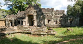 Cambodia Angkor Wat temple ancient ruin buildings Preah Khan Footage