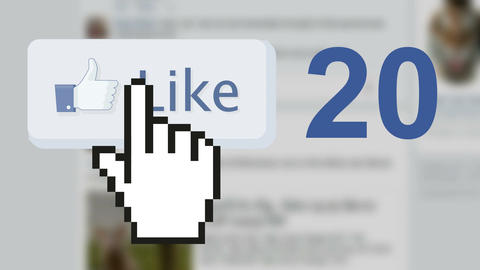 Facebook social media like 'likes' button number counter with hand cursor Live Action