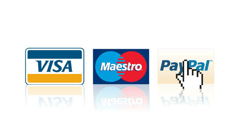 Visa, Mastercard, Paypal logos online shopping payment e-commerce purchase Footage