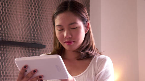 Social Network Internet Email Girl Young Asian Woman Using Ipad Footage