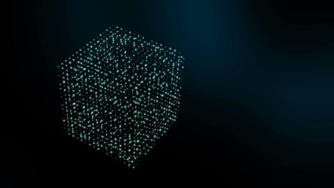 3D cube shape of particles moving and spinning. Science motion graphics with dar Animation