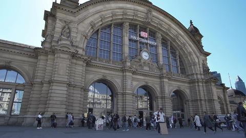 Frankfurt Hauptbahnhof or Main Train Station Front Entrance Timelapse Footage