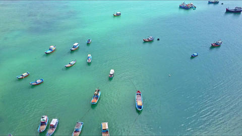 Aerial View Fishing Boats Float on Sea Surface by Coast Footage