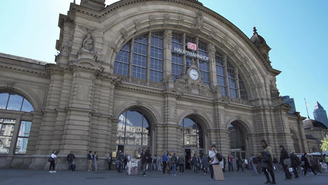 Frankfurt Hauptbahnhof or Main Train Station Front Entrance Footage