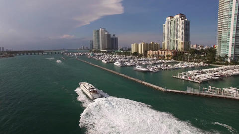 Aerial footage of speed boat at South Beach, Miami Footage