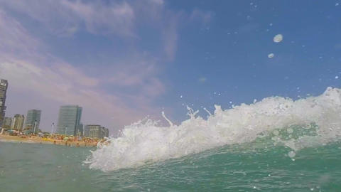 Wave Hits Hard In The Sea Footage