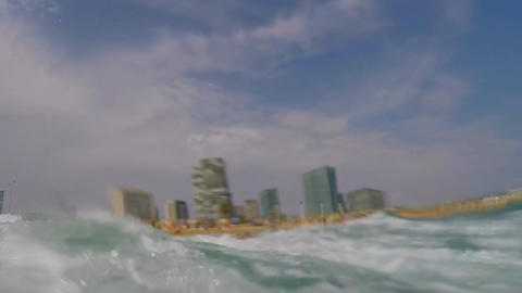 Wave Hits Hard In The Sea Stock Video Footage