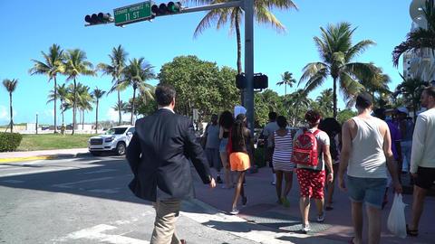 Bussiness man walking miami street Footage