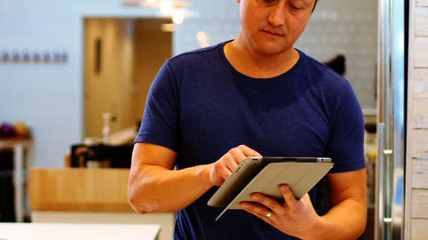 Waiter taking order on digital tablet Footage