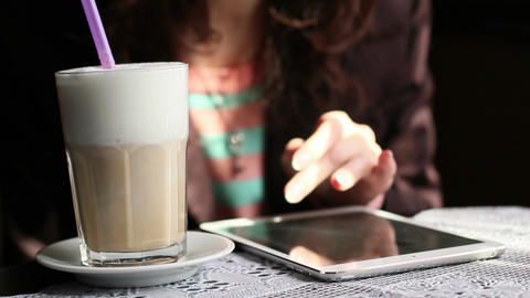 Girl With A Tablet And Latte Footage