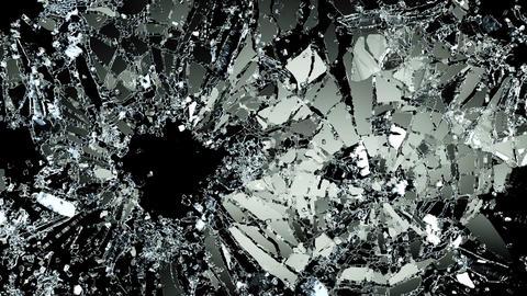 Bullet holes glass shattered and broken slow motion alpha matte Animation