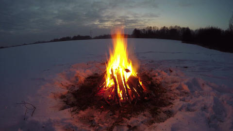 Bonfire burning in the snowy field in dark, time lapse 4K Footage