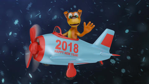 Dog in plane Happy New Year 2018 CG動画素材