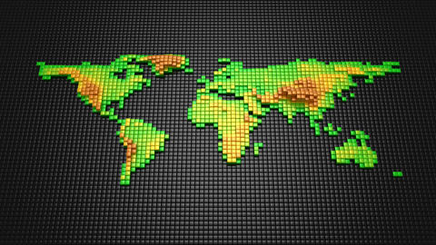 Cubes Form A Relief Map Of The Earth Animation