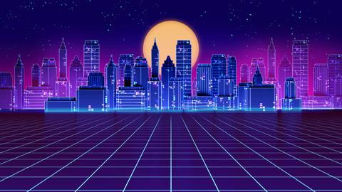 4k loop Retro futuristic skyscraper city 1980s style footage Animation