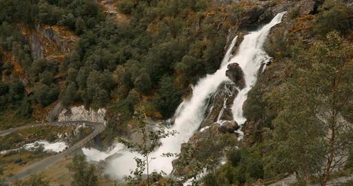 Kleivafossen Waterfall En-Route To Briksdal Glacier, Norway - Cinematic Style Footage